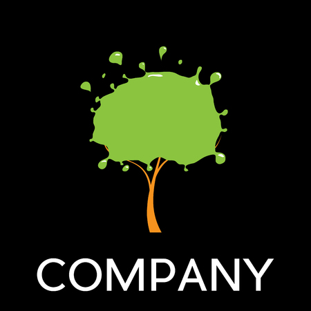 Vector sign  eco print, tree with paint,  in linear style on black background