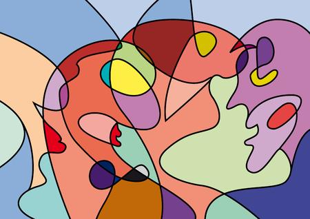 abstracte mensen in verwarring, kleurrijke vector achtergrond