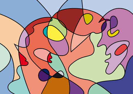 abstract people in confusion, colorful vector background Illustration