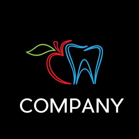 bite: Vector sign dentist. Bite the apple on black background