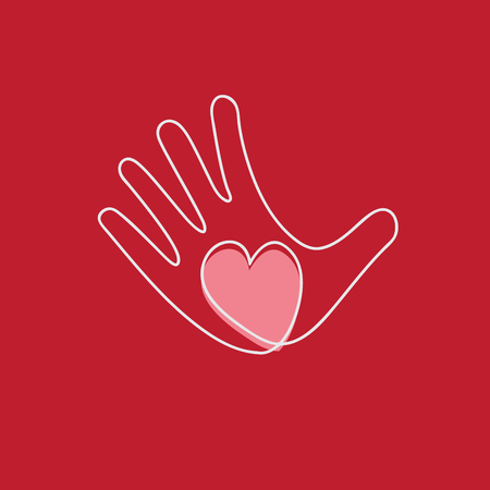 voluntary: Vector hand and heart, aid and voluntary concept