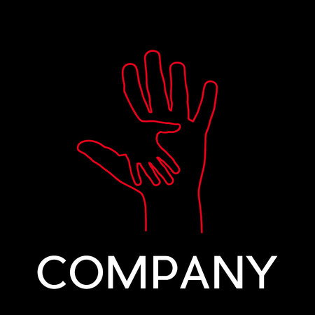Vector sign abstract two hands, help and solidarity, in linear style on black background