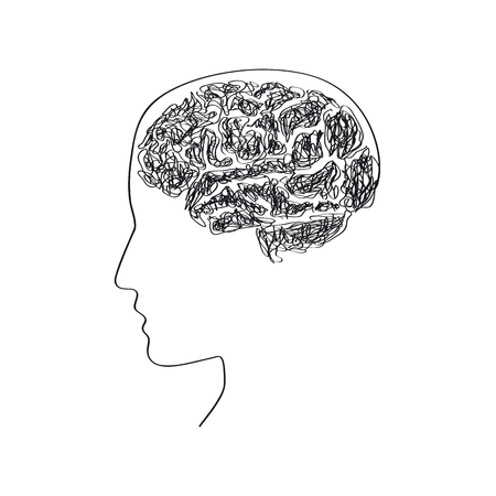 psychiatrist: Vector simple brain, thinking concept