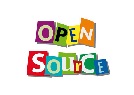 open source: open source, word and text cut from paper, in flat design