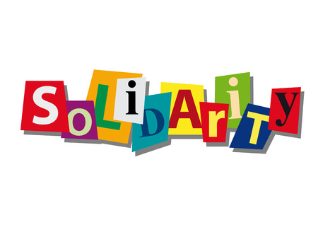 solidaridad: la solidaridad, la palabra y el texto de corte de papel, en el diseño plano