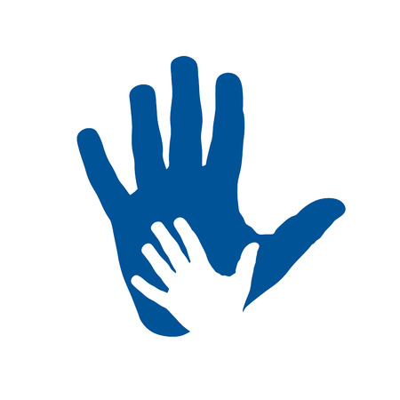 Vector icon two hands, help and solidarity. Father and son. Pediatrician concept