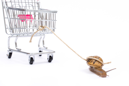 paradox: Slow shopping concept. Snail pull a cart with copy space