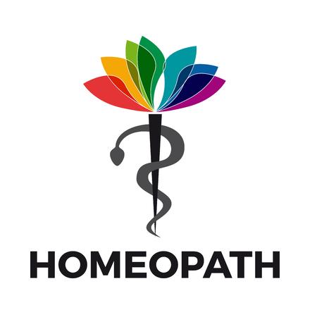 homeopathy: Vector caduceus homeopathy, alternative medicine. Snake, mortar and flower