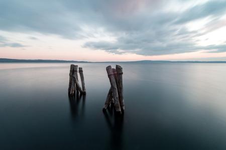 long lake: Sunset on Bracciano lake in Italy, long exposure