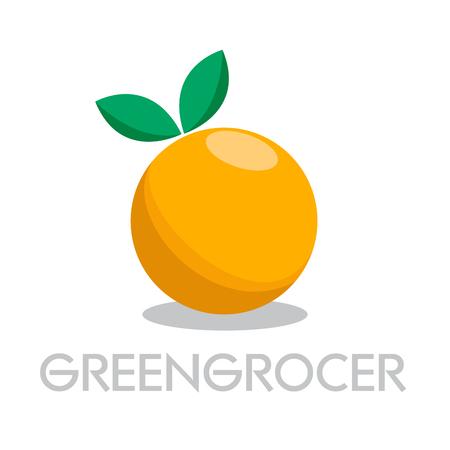 Vector abstract greengrocer. Orange in flat design