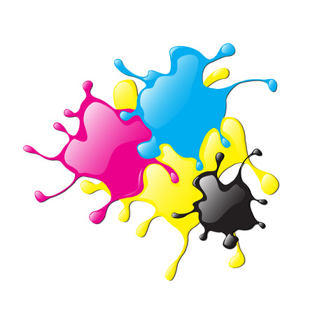 Colored varnish splashes in abstract shape, printer in CMYK