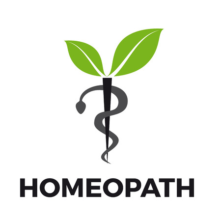 Vector caduceus homeopathy, alternative medicine. Snake, mortar and leaves