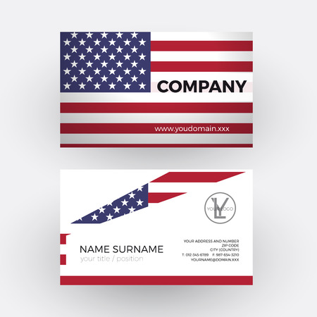 vector abstract american flag professional business card for
