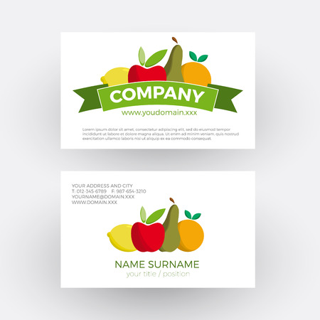 Vector abstract greengrocer,  fruit and vegetables. Business card