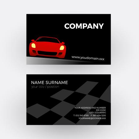 bodywork: Vector abstract car, circuit race. Business card