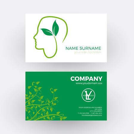 environmentalist: Vector abstract vegan, person vegetarian. Business card Illustration
