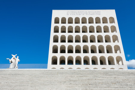metaphysical: Mussolinis Square Colosseum in the EUR district of Rome, Italy Editorial