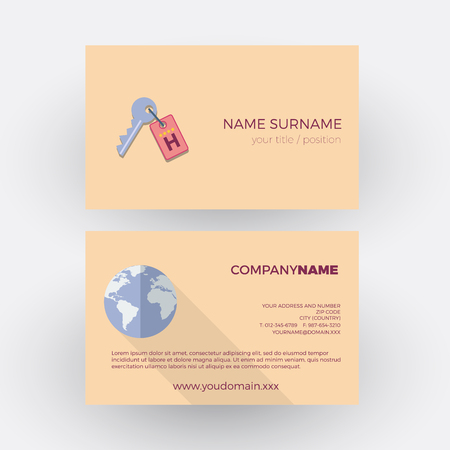 tour operator: key of hotel ,travel agency. vector professional business card Illustration