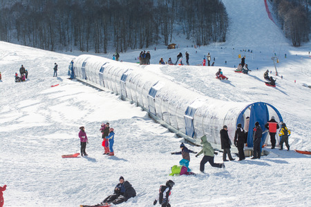 felice: CAMPO FELICE, ITALY - January 14, 2017: famous ski resort in Abruzzo, on the Apennines mountains a few kilometers from Rome. The covered treadmill Editorial