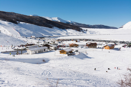 skiers: CAMPO FELICE, ITALY - January 14, 2017: famous ski resort in Abruzzo, on the Apennines mountains, a few kilometers from Rome.