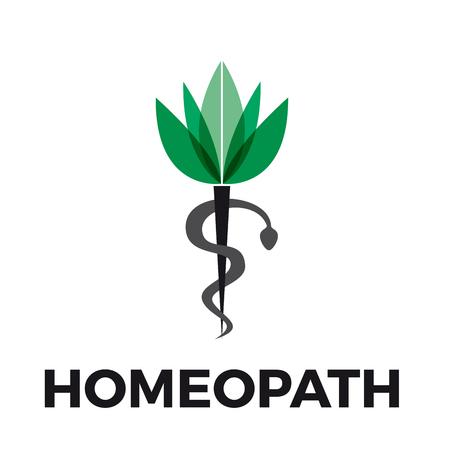 homeopath: Vector caduceus homeopathy, alternative medicine. Snake, mortar and flower