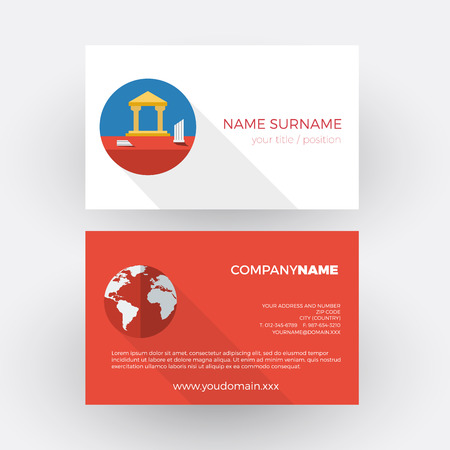 tour operator: archaeological site, tourist guide. vector professional business card Illustration