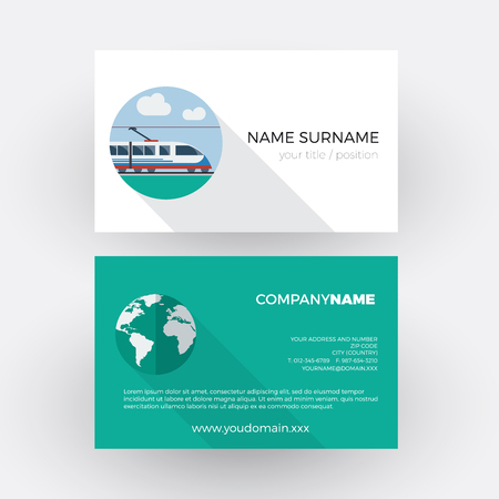 tour operator: train traveling, railways agency. vector professional business card