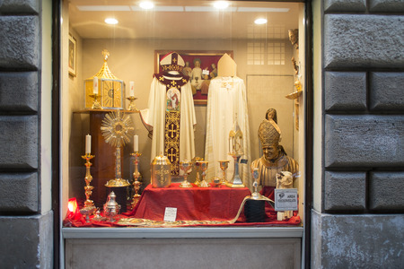 religious clothing: ROME, ITALY - January 16, 2017: sacred art and religious clothing,  catholic garbs store in the  city center. Editorial