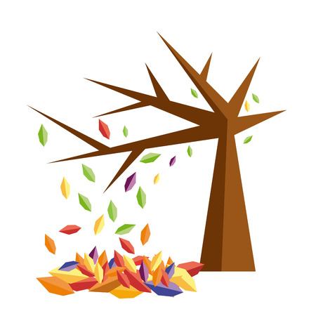 Vector sign autumn, tree with fallen leaves