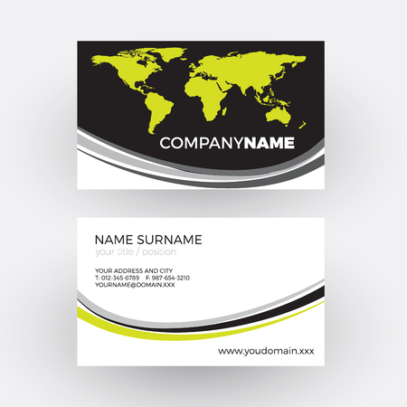 tour operator: black world with waves, global business concept. vector professional business card Illustration