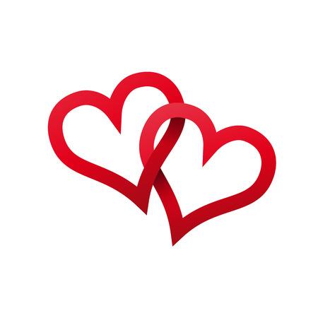 Vector deux coeurs rouges tordus, attachés ensemble. Concept de l'amour éternel