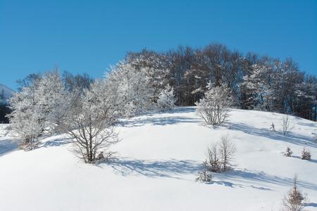 felice: Winter landscape with snow. Campo Felice, Italy