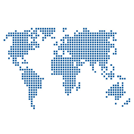 forwarding: Vector map of world with dots, embroidered style Illustration