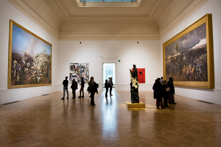 ROME, Italy - February 05, 2017: Galleria nazionale darte moderna, museum, internal view with people. This museum is dedicated to the exhibition of modern and contemporary art.