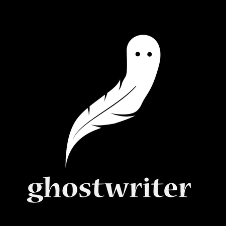 Vector sign ghostwriter. inkwell pen and ghost. shadow writer concept