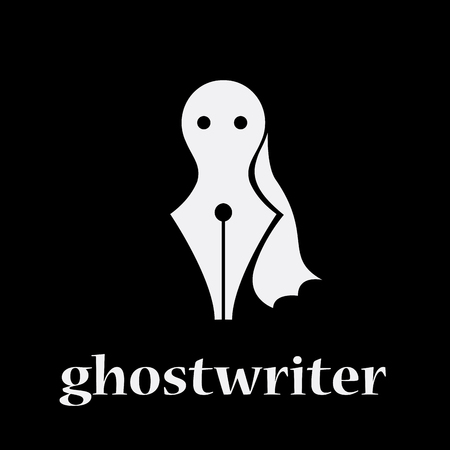 Vector sign ghostwriter. Fountain pen and ghost. shadow writer concept