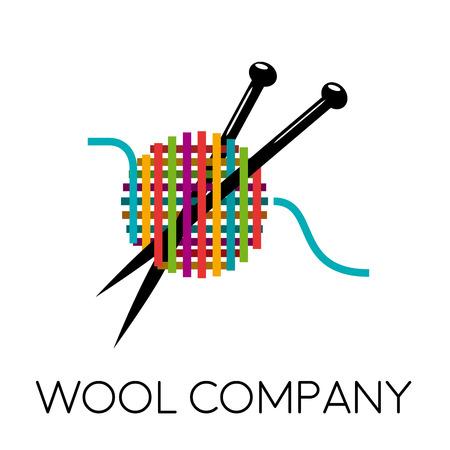 Vector sign ball of yarn, knitting tools. Fashion concept 일러스트