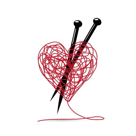 Wektor znak kulki przędzy, w kształcie serca. narzędzia dziewiarskie. tworząc koncepcję miłości