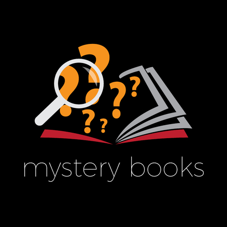 Vector sign mystery and thriller book on black background