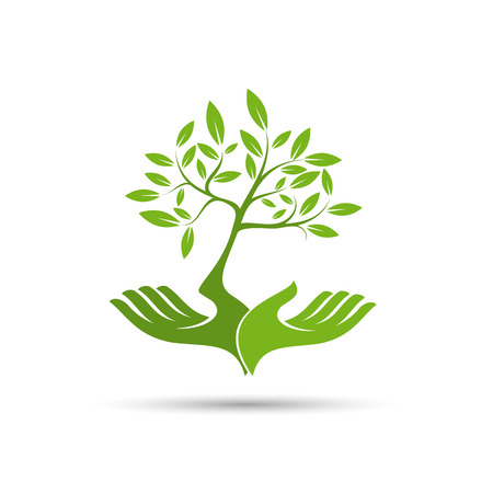 Vector sign friendly environment, hand and tree