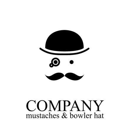 Vector illustration of bowler, mustaches and monocle. Englishman with hat Illustration