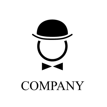 Vector illustration of bowler and bow tie. Englishman with hat