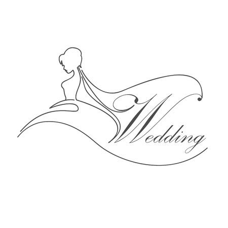 matrimonial: Vector sign bride with veil, wedding concept