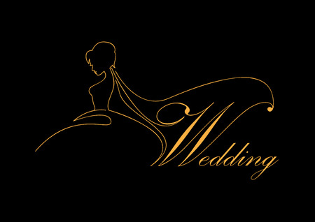 Vector sign bride with veil, wedding concept