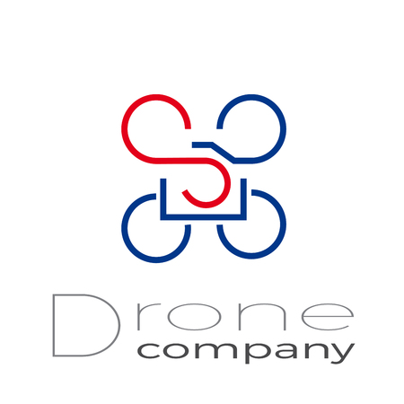 Abstract sign drone driver, quadrocopter with camera and action cam, vector icon
