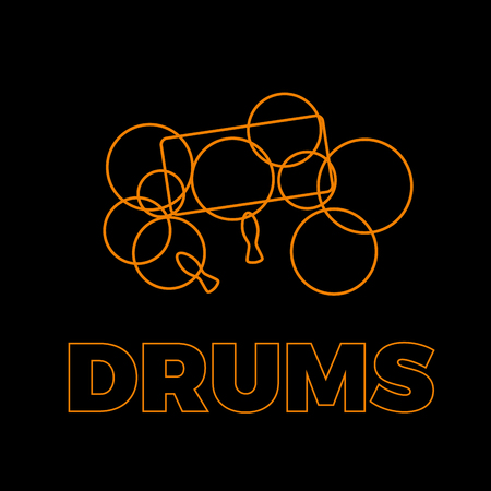 Vector sign drums and sound, abstract shapes in simple lines. Black background