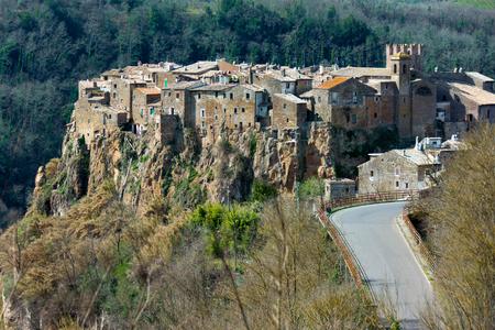 Calcata, medieval italian village in Viterbo province, Lazio ,Italy Stock Photo