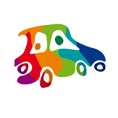 Colorful car in abstract shapes, vector illustration. Drunk concept Illustration