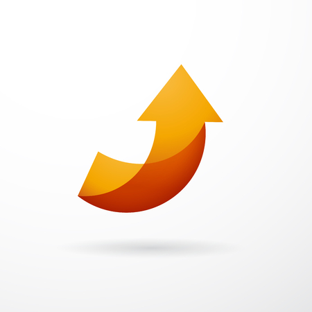 Vector sign orange arrow up, abstract shape