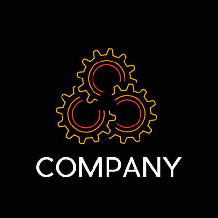 Vector sign industry with abstract gear, in linear style on black background. Engineer and mechanical concept